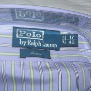 Polo by Ralph Lauren Shirts - Ralph Lauren Mens Cotton Andrew Striped Purple NWT